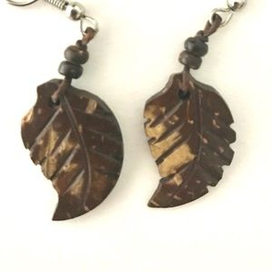Carved wood leaf earrings